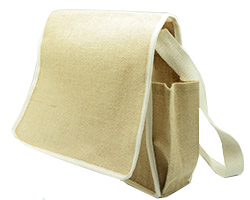 JUTE DOCUMENT BAG w/SIDE SLEEVE