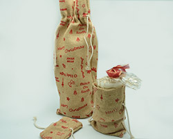 JUTE D/STRING BAG w/Christmas Print