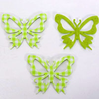 52mm CHECKED-Butterflies - Lime
