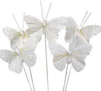 6cm PAINTED BUTTERFLY-Antique White