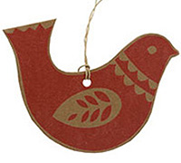 CARDBOARD GIFT TAG-Red Dove