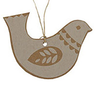 C/B DOVE GIFT TAG -White on Natural Kraft