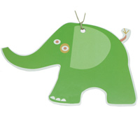CARDBOARD GIFT TAG-Elephant Lime (white card)