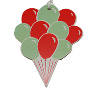 C/B BALLOON GIFT TAG-Mint/Scarlet On White Artboard