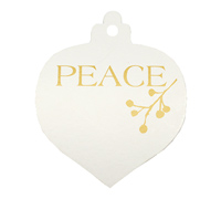 C/B BAUBLE PEACE GIFT TAG-Gold on White board