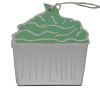 C/B CUPCAKE GIFT TAG-Mint/Silver On White Artboard