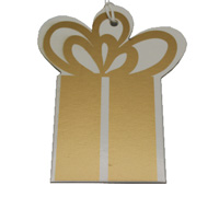 C/B GIFT BOX TAG-Gold On White Artboard