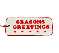 C/B SEASON GREETING GIFT TAG-Red on White board