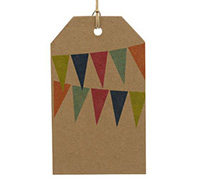CARDBOARD LUGGAGE TAG-Bunting Bright (Brown Kraft)