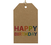 CARDBOARD LUGGAGE TAG-Happy Birthday Bright (Brown Kraft)