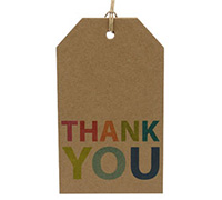 CARDBOARD LUGGAGE TAG-Thank You Bright (Brown Kraft)