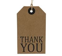 CARDBOARD LUGGAGE TAG-Thank You