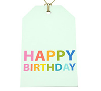 CARDBOARD LUGGAGE TAG-Happy Birthday Bright