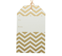 CARBOARD LUGGAGE TAG-Chevron Gold