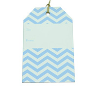 CARDBOARD LUGGAGE TAG-Chevron Pale Blue