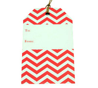 CARDBOARD LUGGAGE TAG-Chevron Red