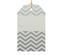 CARBOARD LUGGAGE TAG-Chevron Silver