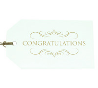 CARDBOARD LUGGAGE TAG-Congratulations Gold