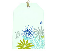CARDBOARD LUGGAGE TAG-Flower Garden-Tiffany/Cobalt