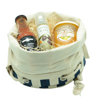 COTTON DUFFLE HAMPER BAG-Navy White Stripe
