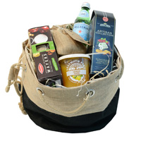 JUTE DUFFLE HAMPER BAG - Black/Natural Jute