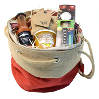 JUTE DUFFLE HAMPER BAG-Red/Natural Jute
