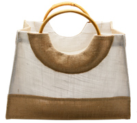JUTE HAND BAG -Natural/White