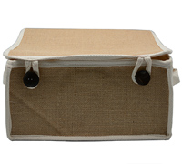 JUTE F/P HAMPER BOX-Natural/Cotton