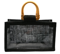 JUTE DOUBLE JAR BAG-Black/Clear