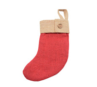 JUTE MINI STOCK w/CUFF-Red/Natural