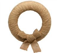 30cm JUTE WRAP WREATH & BOW-Natural