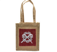JUTE WREATH TOTE -Natural/Red/White