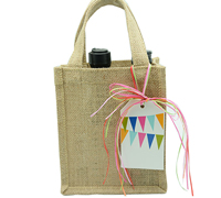 JUTE 2 BOTTLE BAG XS -Natural