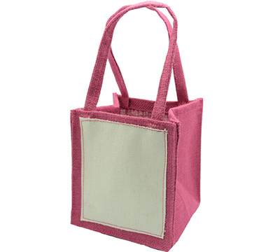 JUTE TOTE BAG-Hot Pink/Plain Cotton