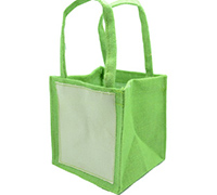 JUTE TOTE BAG-Lime/Plain Cotton