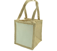 JUTE TOTE BAG-Natural/Plain Cotton