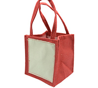 JUTE TOTE BAG-Red/Plain Cotton