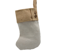 JUTE STOCKING w/CONT CUFF-White/Natural