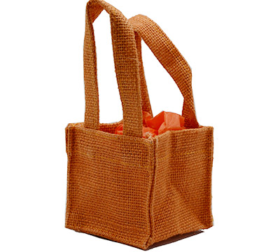 JUTE TINY TOTE BAG -Orange