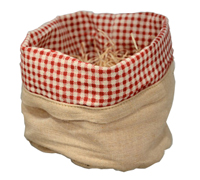 LINEN WEAVE SACK SML-Red/White Gingham