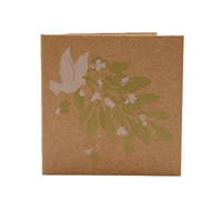 GIFT CARD BIRD/BERRIES-White/Green On Natural Kraft