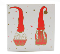 GIFT CARD NORDIC GNOMES-Gold/Scarlet on White card