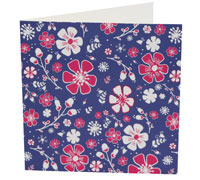 GIFT CARD PRETTY BLOOMS-Navy/HPink on White card