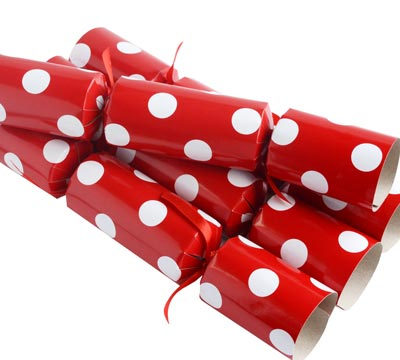 Christmas Crackers Contents.Christmas Crackers W Polka Dots Red