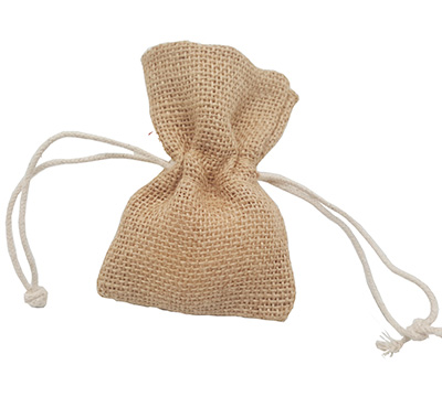 JUTE DRAWSTRING BAG XXS-Natural Jute