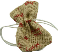 JUTE DRAWSTRING BAG XS-Red Xmas Print