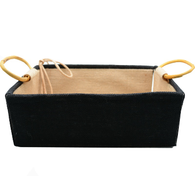 JUTE TRAY HANDLE Sml -Black With Handles