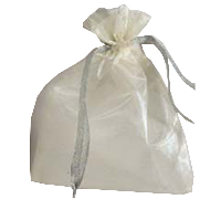 ORGANZA BAG SML-Cream/Silver