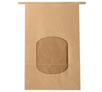PAPER BAG w/WINDOW LGE - Natural Kraft