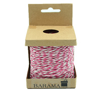 2mm T TONE PAPER STRING-Hot Pink/White